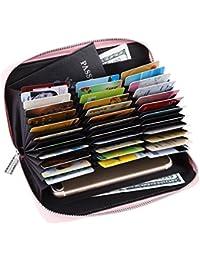 Monedero de las señoras de la tarjeta de crédito Cartera de cuero RFID de bloqueo Multi Pasaporte Organizador de…