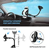 Phone Holder for Car, Mpow Windscreen Car Phone Mount Universal Windshield Car Mount with Extra Dashboard Base and Long Flexible Arm Car Cradle for iPhone 8 7 6s Plus Samsung S8 HTC Sony LG and Others