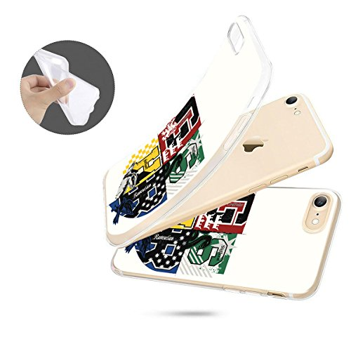 finoo | iPhone 8 Weiche flexible Silikon-Handy-Hülle | Transparente TPU Cover Schale mit Motiv | Tasche Case Etui mit Ultra Slim Rundum-schutz |Harry Potter Portrait Häuser Logo