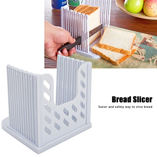 Bread Loaf Slicer Baking Adjustable Bread Cutting Guide Tool Compact Foldable Toast Slicing Shelf with 4 Slice Thickness White