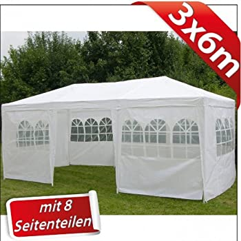 pavillon 3x6m mit 8 seitenw nden farbe weiss. Black Bedroom Furniture Sets. Home Design Ideas
