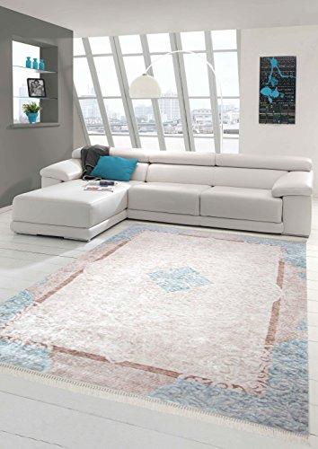 Alfombra de la impresión lavable alfombra diseñador adornos alfombra contemporáneo sala de estar frontera alfombra en color beige crema de color turquesa Größe 160x230 cm
