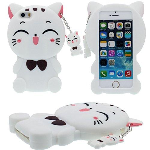 3D Kreativ Niedlich Hübsch Katze Gestalten / Katze Weich Silikon Schutzhülle Handy Hülle Case für Apple iPhone 5 5S 5C SE Mädchen Stil - - Niedlich Handy