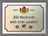 Metallschild Garderobe keine Haftung - Schild Thüringen (18 x 14 cm)
