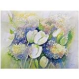 Aquarell Blumenbild mit Tulpen u