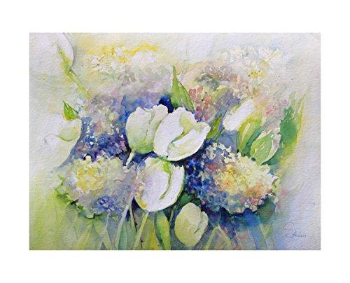 Aquarell Blumenbild mit Tulpen und Hortensien