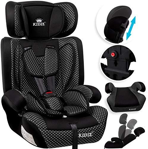 KIDIZ® Autokindersitz Kindersitz Kinderautositz | Autositz Sitzschale | 9 kg - 36 kg 1-12 Jahre | Gruppe 1/2 / 3 | universal | zugelassen nach ECE R44/04 | 6 verschiedenen Farben | Schwarz -