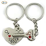 OLIA DESIGN Multicolor Key To My Heart Cute Couple Keychain(Set Of 2)