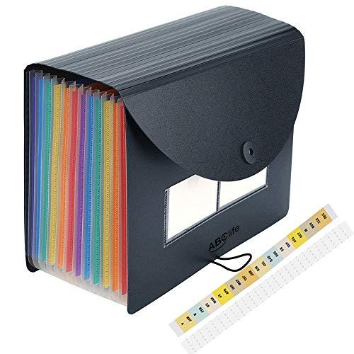 Carpeta Clasificadora con Tapa - ABC life Archivador acordeón 12 Bolsillos de gran Capacidad soporte Extensible portátil acordeón, MultiColor Archivador A4para Office School Home (12 Bolsillos Tapa)