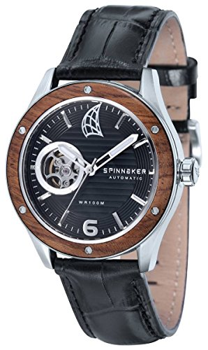 Spinnaker Sorrento Men's Automatic Watch with Wood Bezel and black Dial Display on Black Genuine Leather Strap SP-5034-01