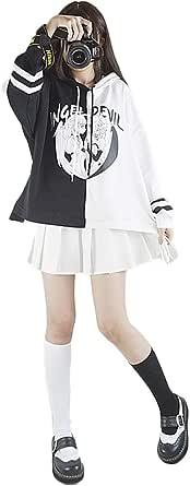 Felpa Oversize Hoodie, Harajuku Angle Devil Nero Bianco Donne Felpa con Cappuccio