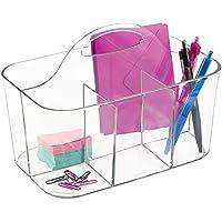 mDesign Organizador de escritorio con asa incorporada para guardar artículos de papelería – Organizador de oficina – Clasificador de plástico con 4 compartimentos – transparente