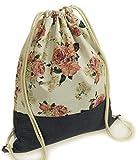 Ferocity Prämie Tasche Turnbeutel Rucksack Sportbeutel Bag Gym-Sack Wiederverwendbar Vintage Blumen [010]