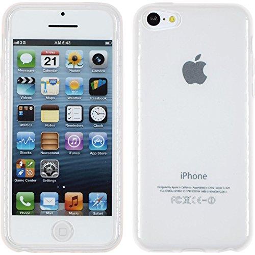 Funda de silicona para Apple iPhone 5c - transparente blanco - Cover PhoneNatic Cubierta + protector de