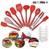 KALREDE Silikon Küchen utensilien-10er Silikon Kochen Set und einer Aufbewahrungshalter,Hitzebeständige Kochutensilien--BPA Free Silikon Küchen Werkzeug-Set(rot)