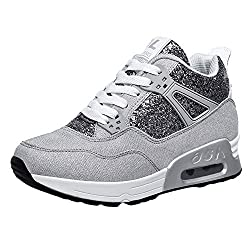 Makalon Paar Mode Freizeit Laufsport Socken Schuhe Damen Student Beiläufig Elastisch Leichtgewichtige Turnschuhe Mädchen Sport Schuhe Stiefeletten Slip On Schuhe Net Schuh (36 EU, Grau)