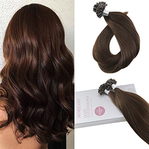 Tip Hair U Extensions Keratin (Moresoo Remy Echthaar Tressen U Tip Hair Extensions Brasilianisches Keratin Pre Bonded Extensions Mittelbraun #4 1g/Strähnen 50g 18zoll/45cm)