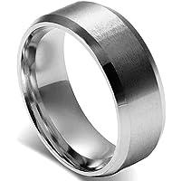 Flongo Anelli d'argento Uomo, Anello classico matrimonio impegno, Acciaio inossidabile