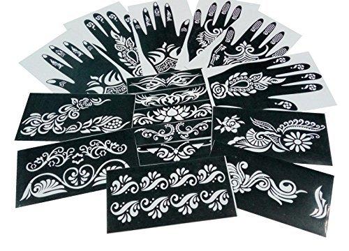 Parth impex, stencil per tatuaggi con henné, autoadesivi, temporanei, stile tribale, modelli decorativi per il corpo, confezione da 16
