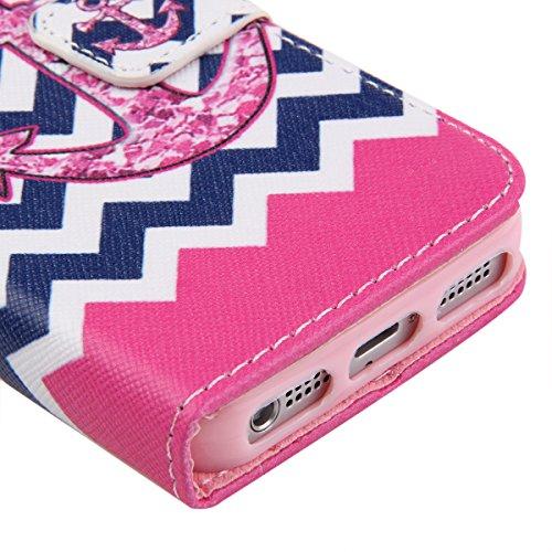 iPhone 5C Hülle, ISAKEN iPhone 5C Hülle Muster, Handy Case Cover Tasche for iPhone 5C, Bunte Retro Muster Druck Flip PU Leder Tasche Case Hülle im Bookstyle mit Standfunktion Kartenfächer mit Weich TP Blue White Wave Pattern Pink Anchors