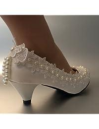 JINGXINSTORE 4 cm de tacón Puntilla Marfil Zapatos de novia boda Perla tamaño 5-12,marfil,US 8