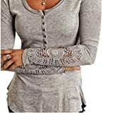 Fanessy Blazer Damen Bluse Langarm Blusen Tops T-Shirts Mit Spitze Oberteil OL