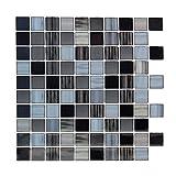 truu Design iDesign Collection, Quadrat glänzend Stück Wand Fliesen, 6x, schwarz, 25,4x 25,4cm