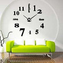 Reloj Pared 3D Adhesivo Grande Cocina Silencioso Acrílico Efecto de Espejo Moderno Decoración (A1- Negro)