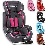 KIDUKU® Autokindersitz Kindersitz Kinderautositz, Sitzschale, universal, zugelassen nach ECE R44/04, in 6 verschiedenen Farben, 9 kg - 36 kg 1-12 Jahre, Gruppe 1/2/3 (Grau/Pink)