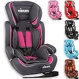 KIDUKU® Autokindersitz Kindersitz Kinderautositz, Sitzschale, universal, zugelassen nach ECE R44/04, in 6 verschiedenen Farben, 9 kg - 36 kg 1 - 12 Jahre, Gruppe 1 / 2 / 3 (Grau/Pink)