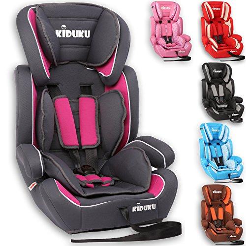 KIDUKU Autokindersitz Kindersitz Kinderautositz, Sitzschale, universal, zugelassen nach ECE R44/04, in 6 verschiedenen Farben, 9 kg - 36 kg 1-12 Jahre, Gruppe 1/2 / 3 (Grau/Pink)