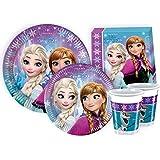 Ciao Y2499 - Kit Party Festa in Tavola Disney Frozen per 24 Persone (112 Pezzi: 24 Piatti Grandi, 24 Piatti Medi, 24 Bicchieri, 40 Tovaglioli)
