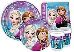 Idea Regalo - Ciao Y2499 - Kit Party Festa in Tavola Disney Frozen per 24 Persone 112 Pezzi: 24 Piatti Grandi, 24 Piatti Medi, 24 Bicchieri, 40 Tovaglioli)
