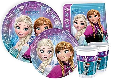 Ciao Lot de vaisselle de fête La Reine des neiges pour 24personnes (112pièces: 24grandes assiettes, 24assiettes moyennes, 24verres, 40serviettes) Y2499