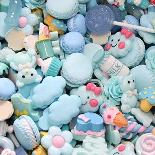 dyudyrujdtry 30Pcs / Paquete Bricolaje Suministros Accesorios Resina Helado Decoración para Niños Relleno Miniatura Resina Pastel Frutas Candy Chocolate - Fácil Azul Serie Bolsas