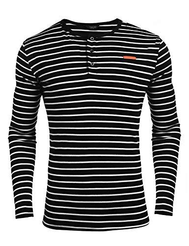 Coofandy Herren Langarmshirt Pullover Gestreifen Stripe Langarm Shirt Henley-Kragen Sweatshirt für Männer (XL, Schwarz-Streifen) -
