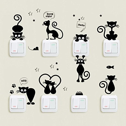 ❤️Pegatinas de pared❤️Dragon868 cute luz interruptor de pared de gato pegatinas animales dibujos animados decoración del hogar