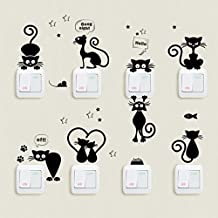 ❤️Pegatinas de pared❤️Dragon868 cute luz interruptor de pared de gato pegatinas animales dibujos