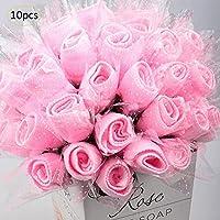 Bloomma 10PCS Mini Rose Toalla de Tejido portátil Boda, salón de Belleza de los Deportes de Viaje o toallitas de Mano para el hogar