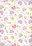 2 Sheets Baby Girl Christening Wrapping Paper & 1 Matching Gift Tag