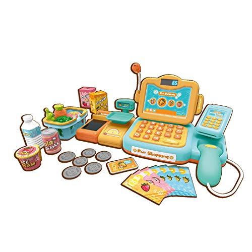 Foxom Caja Registradora Juguetes,Niños Supermercado Electrónica Cajero con Calculadora,Reconocimiento Automático de Voz...