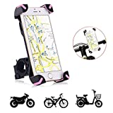 Tempo Bicycle Phone Mount,Fullbell Universal Cell Phone Bicycle Rack Handlebar & Motorcycle Holder for iPhone 7, 7 Plus, 6, 6 Plus (Rose Red)