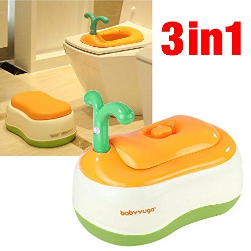 Babyyuga - Orinal 3en 1para niños, asiento para inodoro, banqueta (naranja)