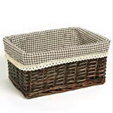 Pastoral Rattan Made Of Debris Finishing Storage Box Cosmetics Book Collection Basket , 007