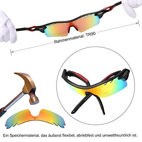 HODGSON Fahrradbrille Sport Sonnenbrille für Herren und Damen Polarisierte, Sportbrille mit 5 Wechselobjektiven und Radsports, Baseball, Laufen, Tr90-Rot … - 5