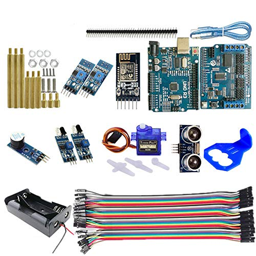 Zitainn WiFi Control 2 Tracking Ultraschall Hindernisvermeidung Intelligenter Roboter Auto Chassis Kit Batterie Box 4WD Ultraschallmodul Für Arduino Kit (Die halterung farbe ist zufällig) -
