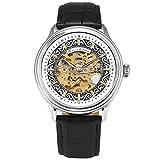 KS Armbanduhren für Herren männer Edelstahl Luxus Automatische Mechanische Skelett Analog Lederband Uhr Schwarz KS384