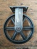 Roulette de meuble industriel vintage 200 mm Fixe, finition vieillie, 300 kg