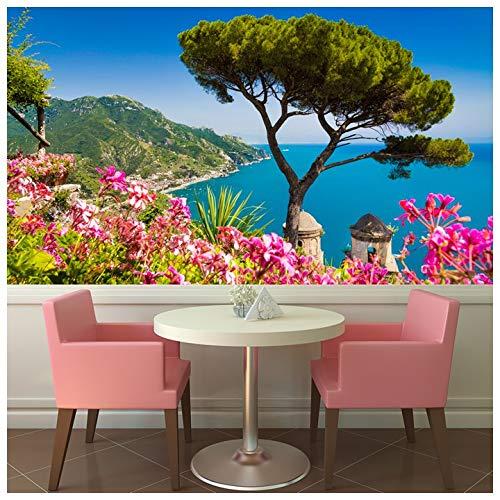 azutura Costiera Amalfitana Italia Fotomurali Fiori rosa Carta Da Parati Paesaggio Home decor Disponibile in 8 misure Gigantesco Digitale