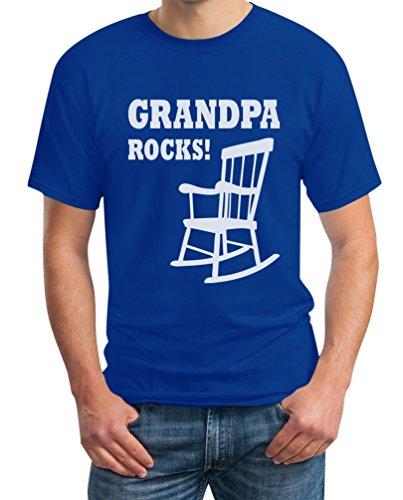 Grandpa Rocks - Grossvater Rockt Witziges Geschenk Opa T-Shirt Blau